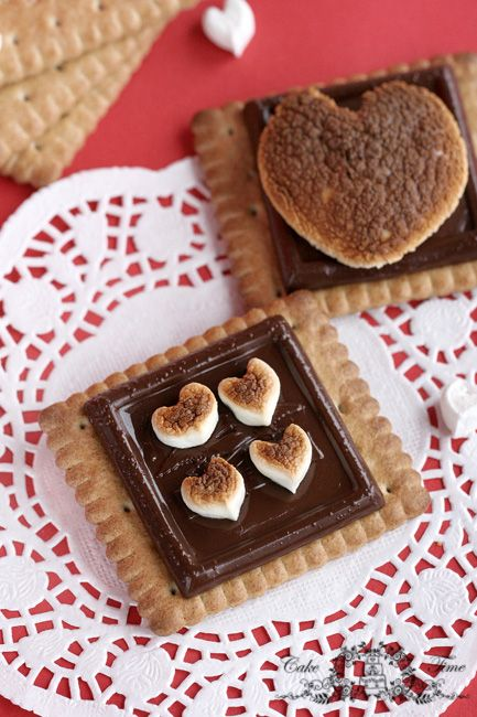 Valentines Day heart-shaped cookies with smore
