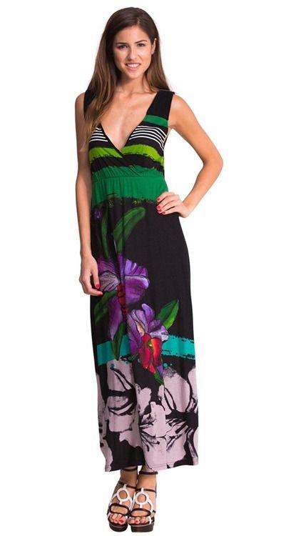 Robe Longue Desigual Infinito Imprime Fleurs D Hibiscus Vneck Maxi Dress Dresses Maxi Dress