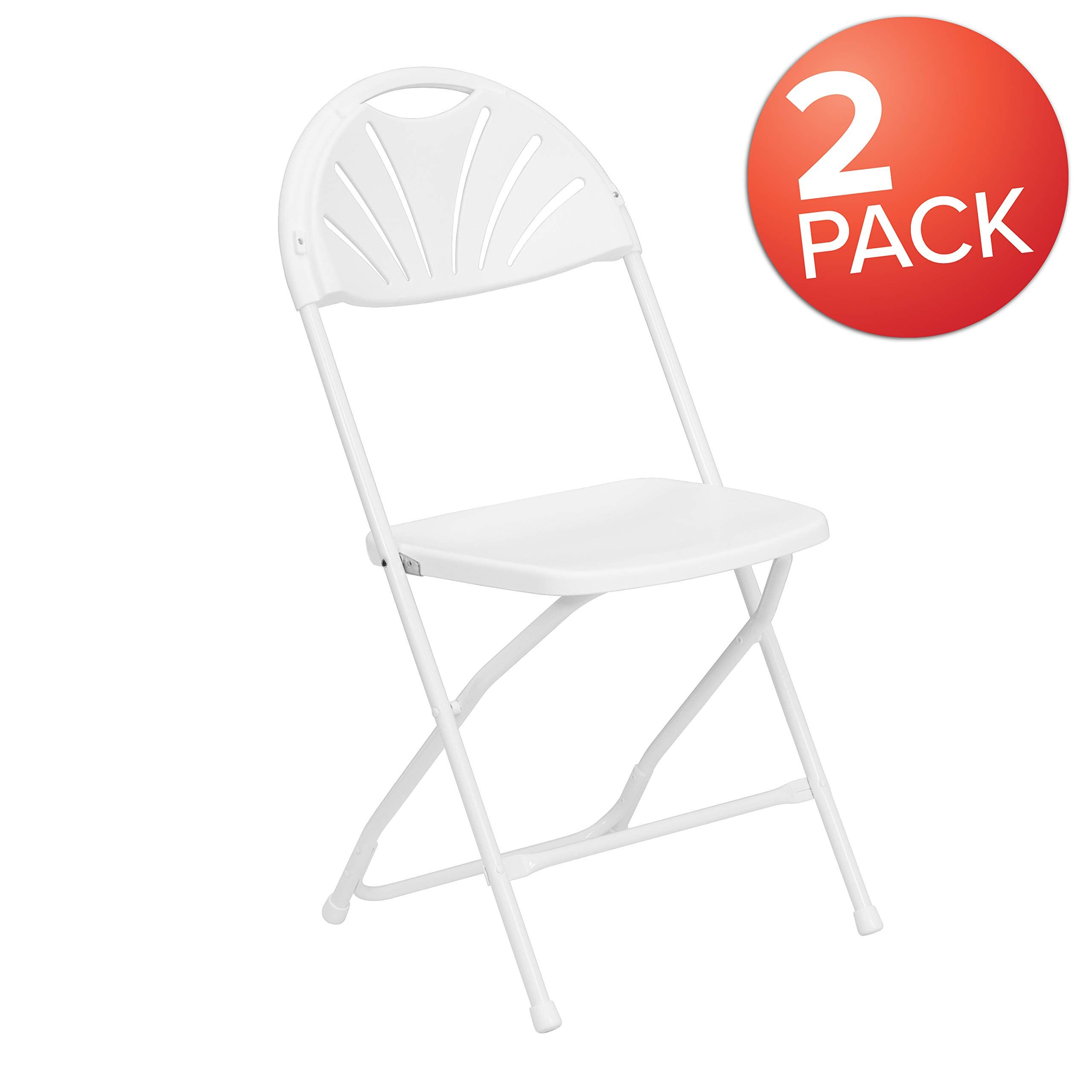 Flash Furniture 2 Pk Hercules Series 650 Lb Capacity White Plastic Fan Back Folding Chair Folding Chair Metal Folding Chairs Plastic Folding Chairs