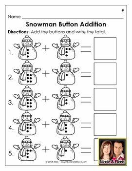 adorable snowman button addition activity for for preschool kindergarten math kinder fun. Black Bedroom Furniture Sets. Home Design Ideas