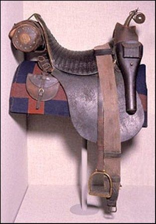 1844 saddle - US Army from French Hussar pattern. Iron reinforced saddle with valise, pair of horseshoe pouches and holsters
