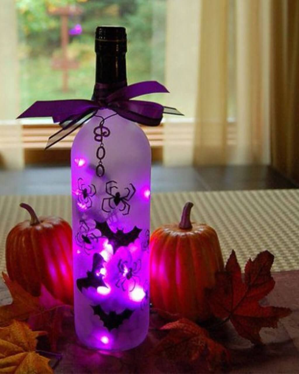 Wine bottle turns into eerie light diy indoor halloween decorating ideas also spooky decoration for rh za pinterest