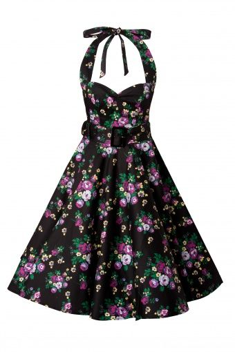 cb4b0e910760b1 Bunny - 50s Retro halter May Day Black swing dress