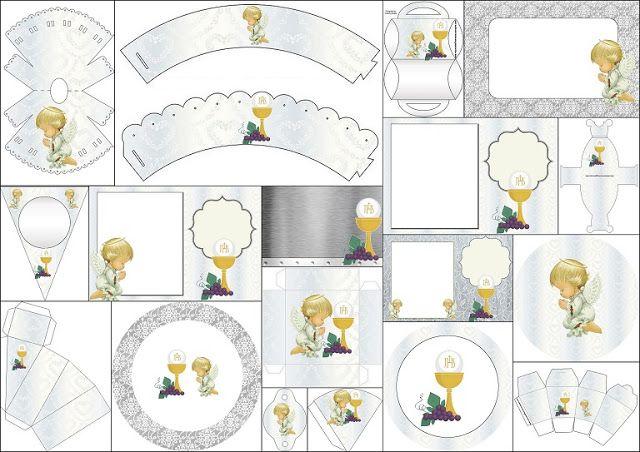 Primera Comunión: Imprimibles con Diseño en Plateado y ...