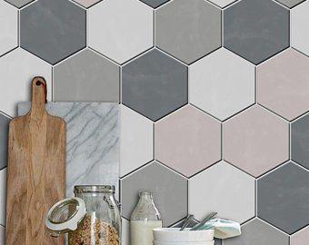 Kitchen and Bathroom Splashback - Removable Vinyl Wallpaper - Hexa Ebony - Peel & Stick #bathroomsplashback Kitchen and Bathroom Splashback Removable Vinyl Wallpaper | Etsy #bathroomsplashback