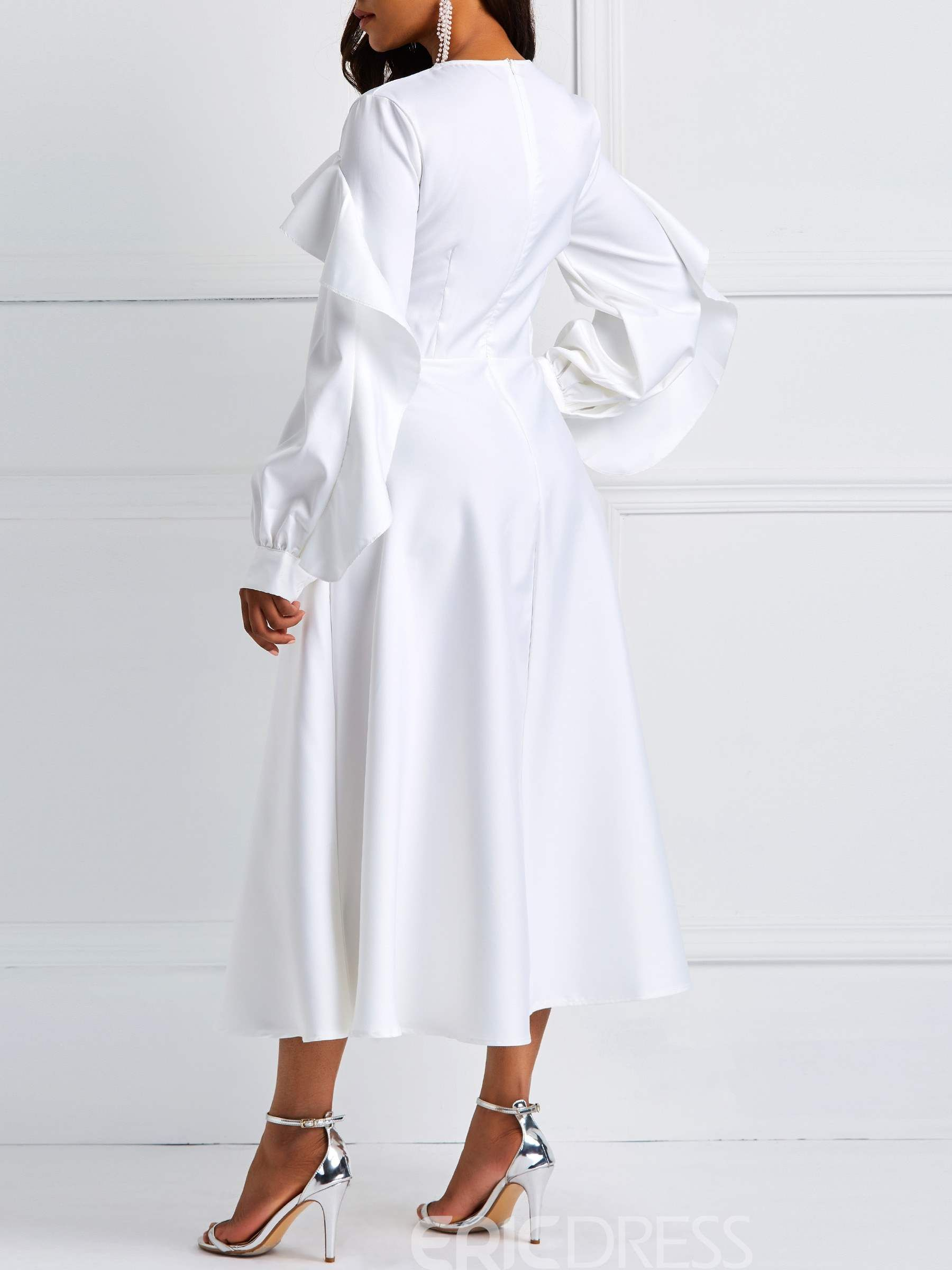 b8193ac59fb6e Ericdress Long Sleeve Ruffles A-Line White Dresses 13557408 ...