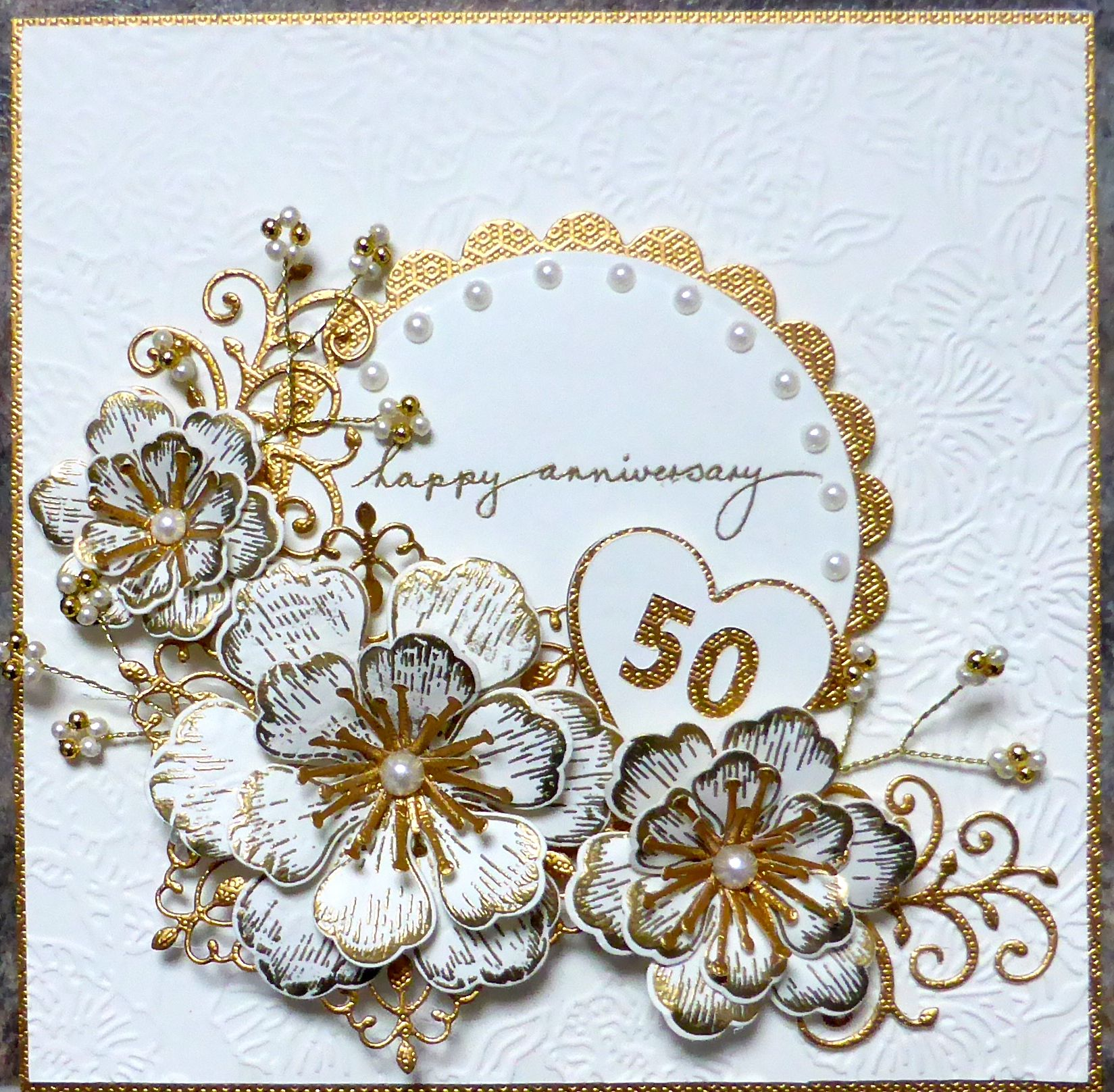 golden wedding anniversary card using arianna blooms