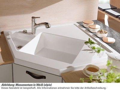 Villeroy \ Boch Monumentum Graphit Grau Eckspüle Keramik-Spüle - villeroy und boch waschbecken küche