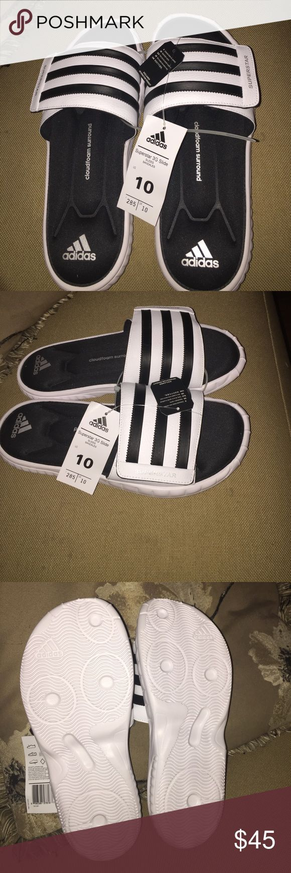 Adidas Shoes | Adidas Slides | Color: Black/White | Size: 10,  Adidas Shoes | Adidas Slides | Color: Black/White | Size: 10,