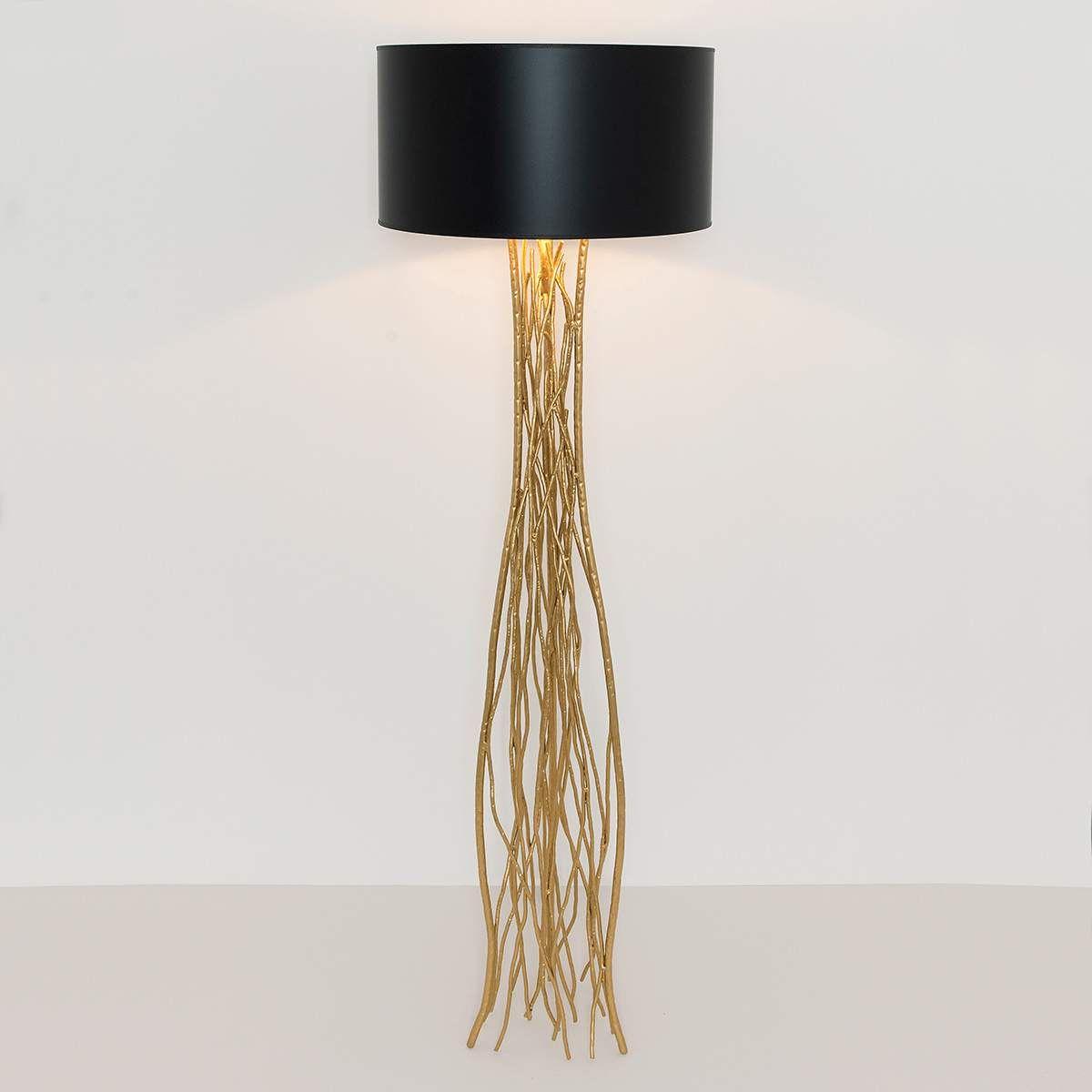 Stehleuchte Capri In Schwarz Gold Schwarzes Gold Led Stehlampe