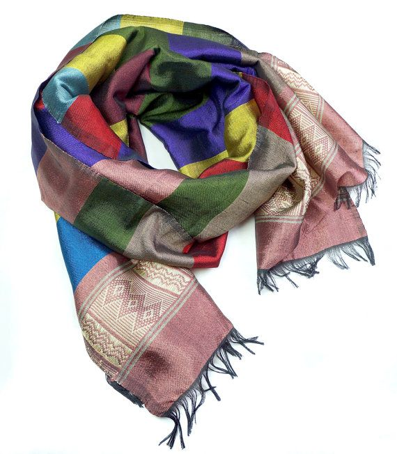 Silk cotton scarf handmade in Ethiopia - striped SE04 | Ethiopian