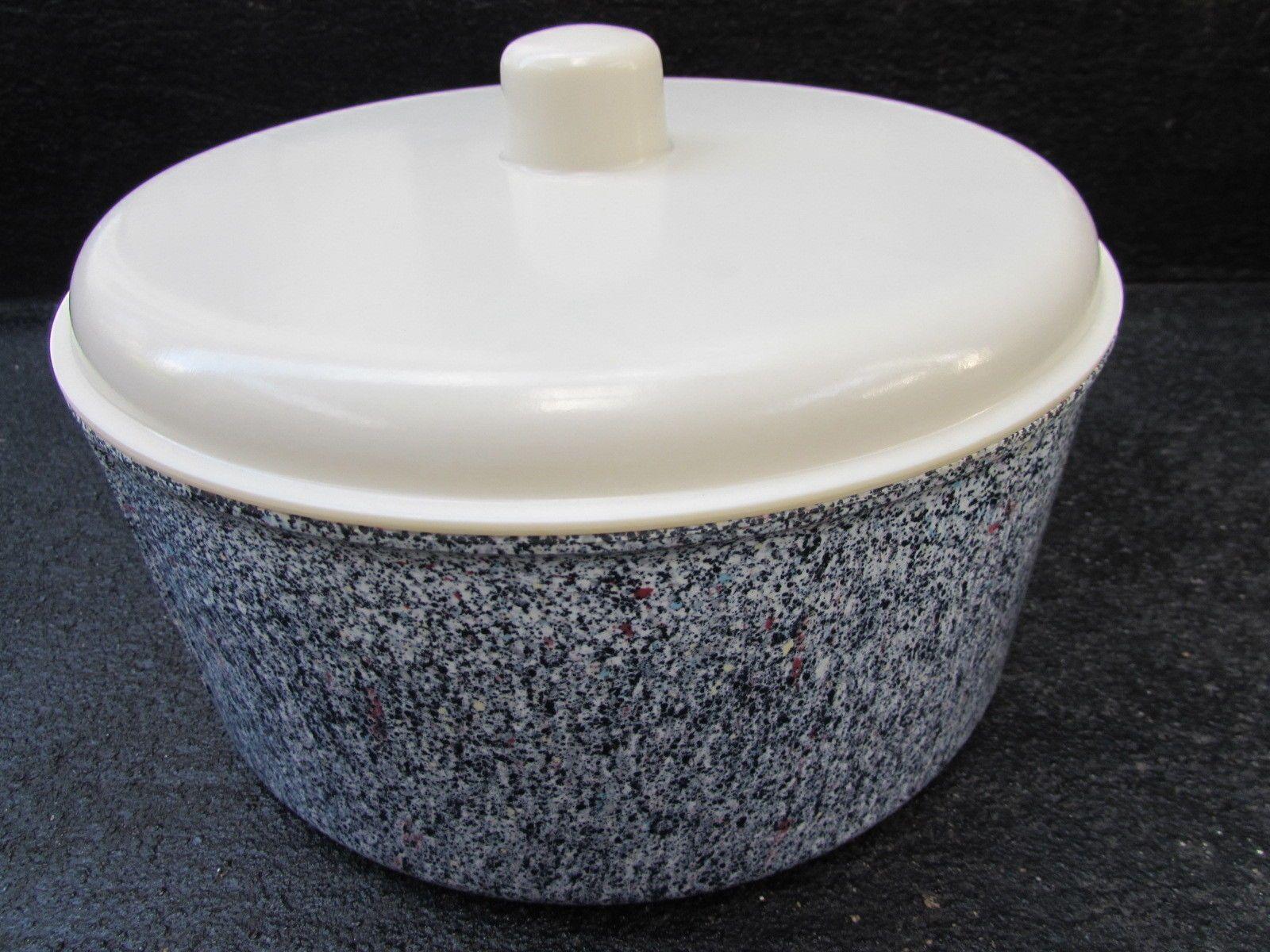 Vintage 1940s Rare EON Speckled BAKELITE Cake CANISTER TIN