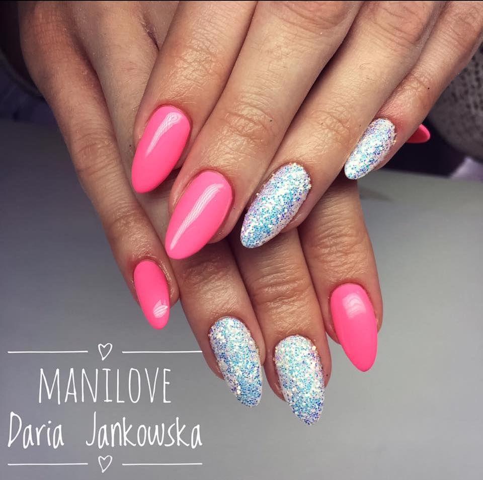 Pixel Effect Kopciuszek   Nail nail, Neon pink nails and Pink nails