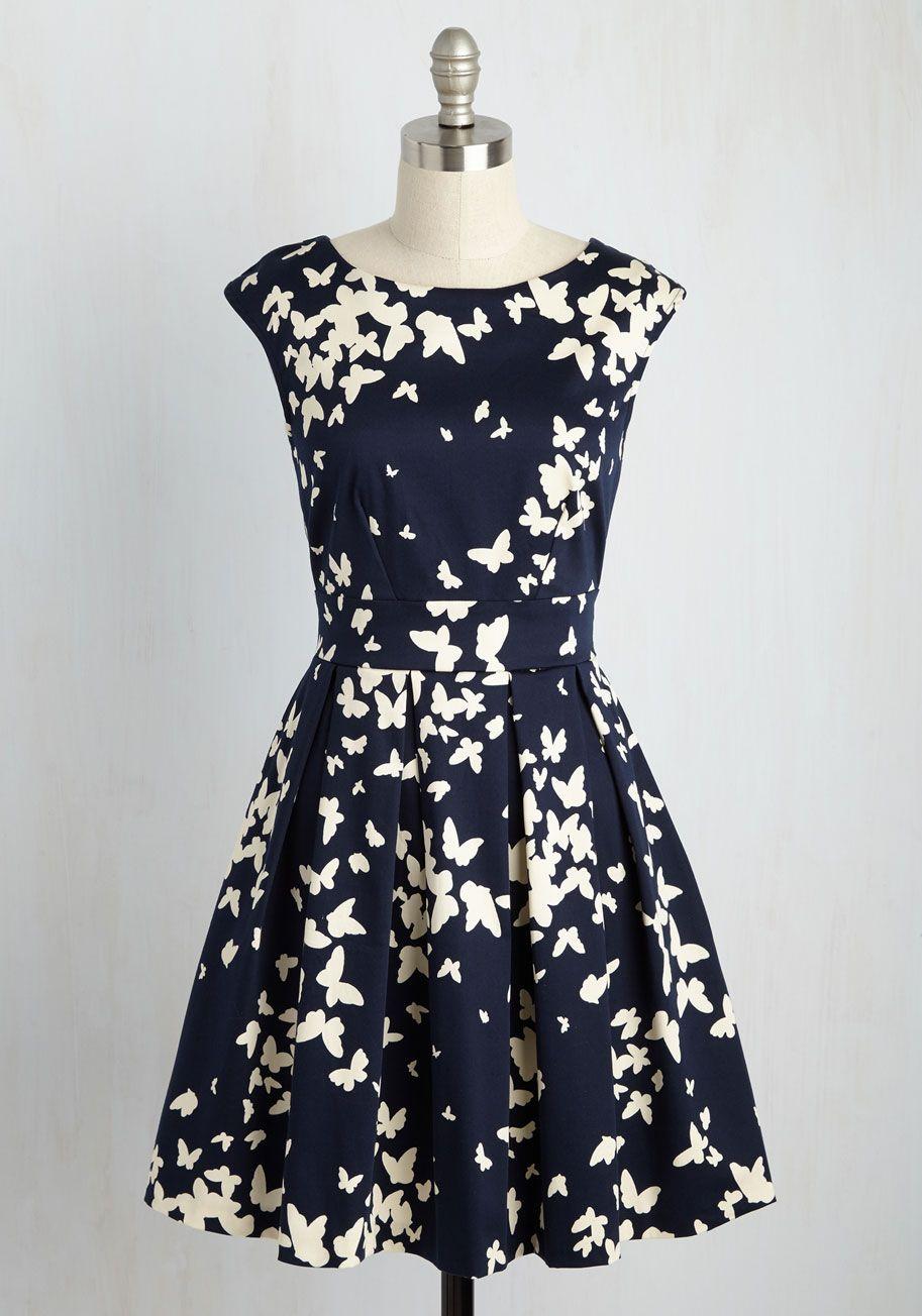 Fluttering Romance Dress In Butterfly Silhouettes Mod Retro Vintage Dresses Modcloth Com Mod Cloth Dresses Pretty Dresses Vintage Dresses [ 1304 x 913 Pixel ]