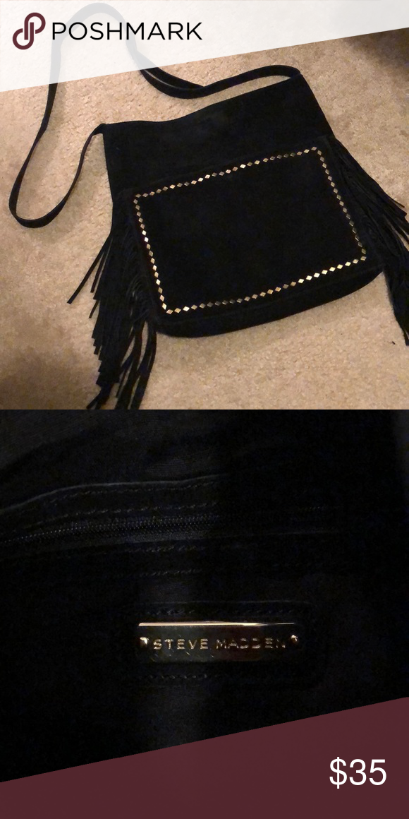 0c3779c8e78 Steve Madden crossbody satchel Black suede with diamond-shaped studs.  Fringe detail on both
