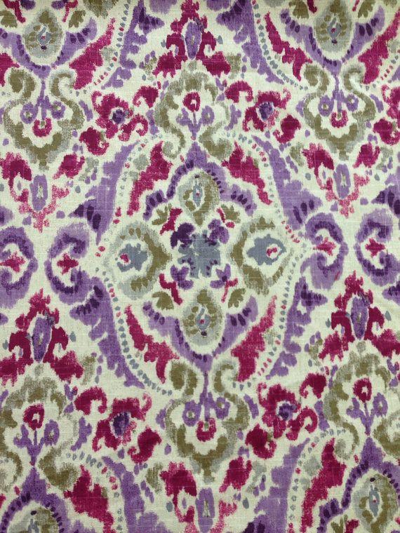 Ikat Purple Green Plum Upholstery Fabric Fabric By
