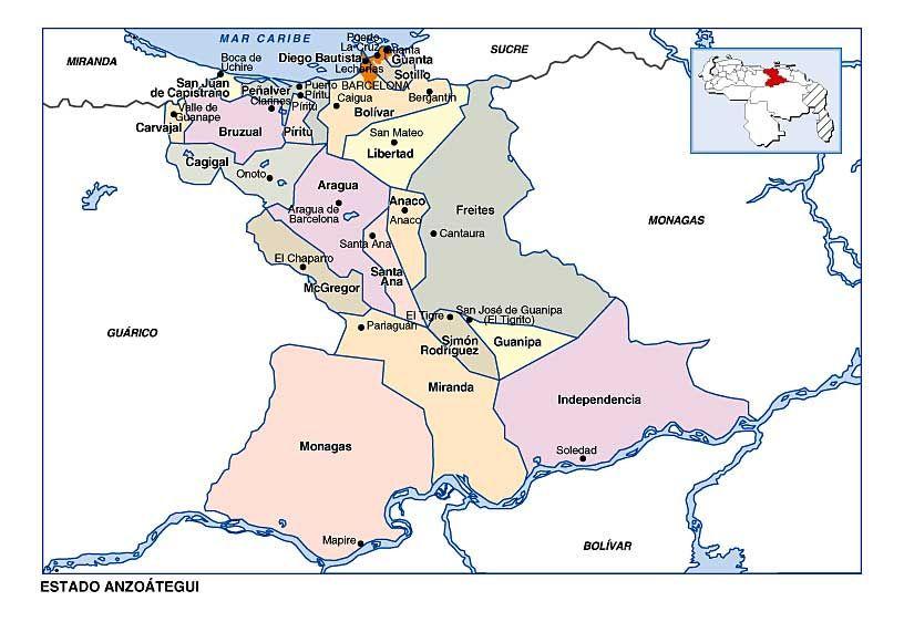 Resultado de imagen para Mapa de anzoategui