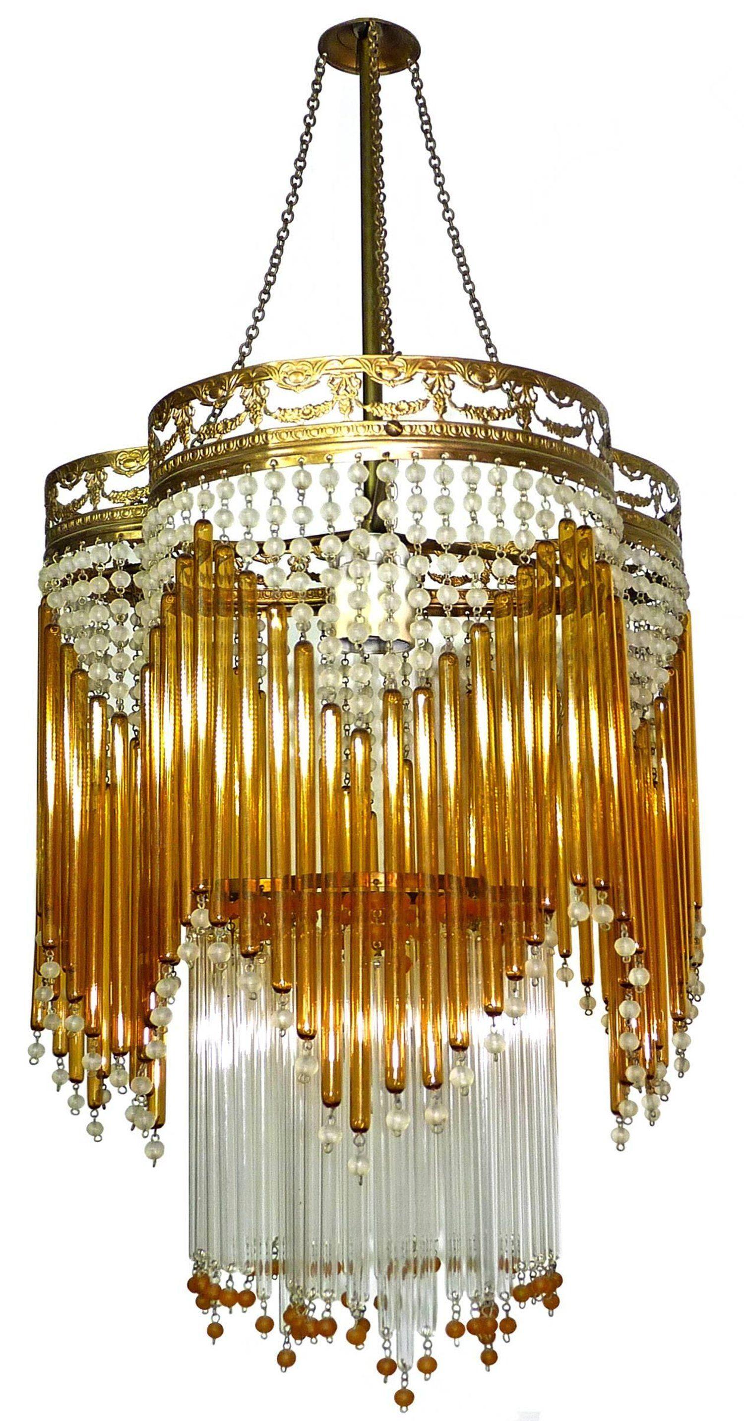 Italian Art Deco Art Nouveau Amber And Clear Beaded Glass Murano