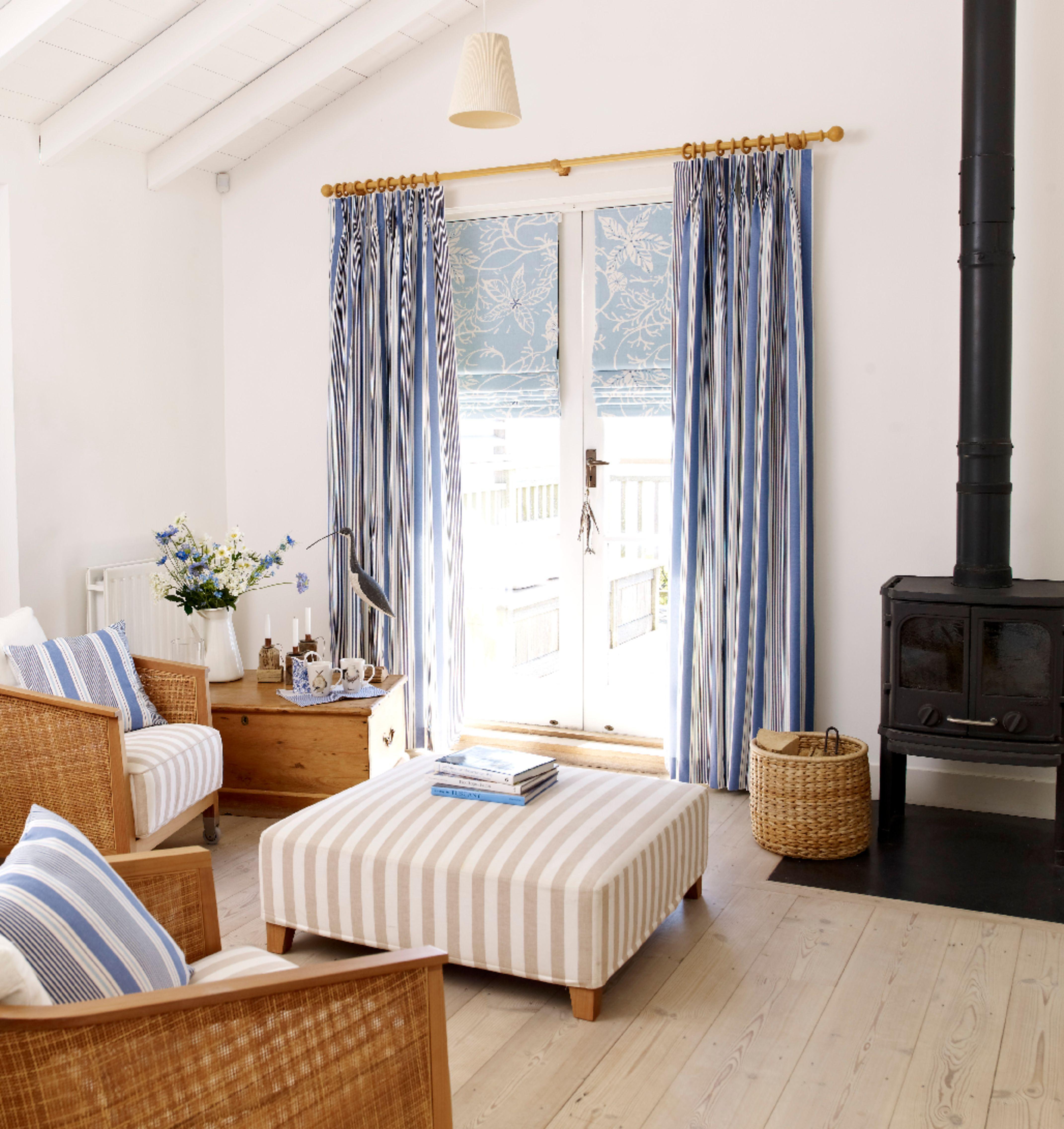 Brancaster Sea Blue Curtain At Home Interior