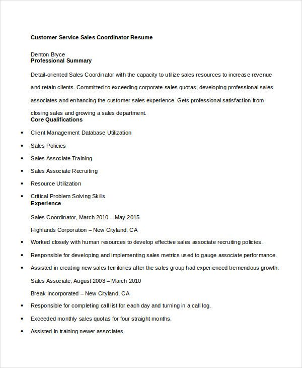 Resume Objectives For Customer Service Customer Service Sales Coordinator Resume  Customer Service