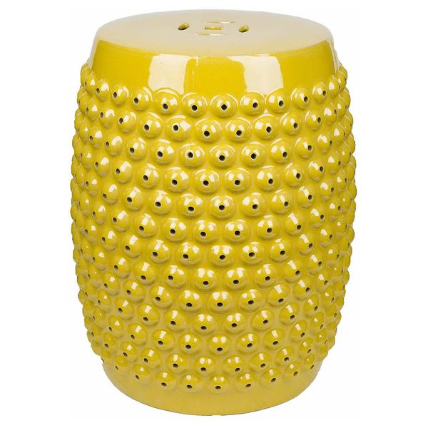 """ABBYSON LIVING Sophia Yellow Pierced Ceramic Garden Stool, $155 with free shipping on Overstock. 14"""" wide. Same stool on Hayneedle for $139.99 and free shipping"""