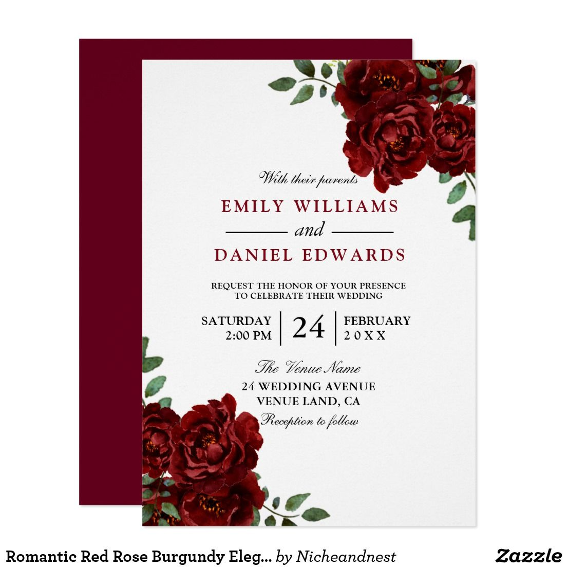 Romantic Red Rose Burgundy Elegant Wedding Invitation | { Wedding ...