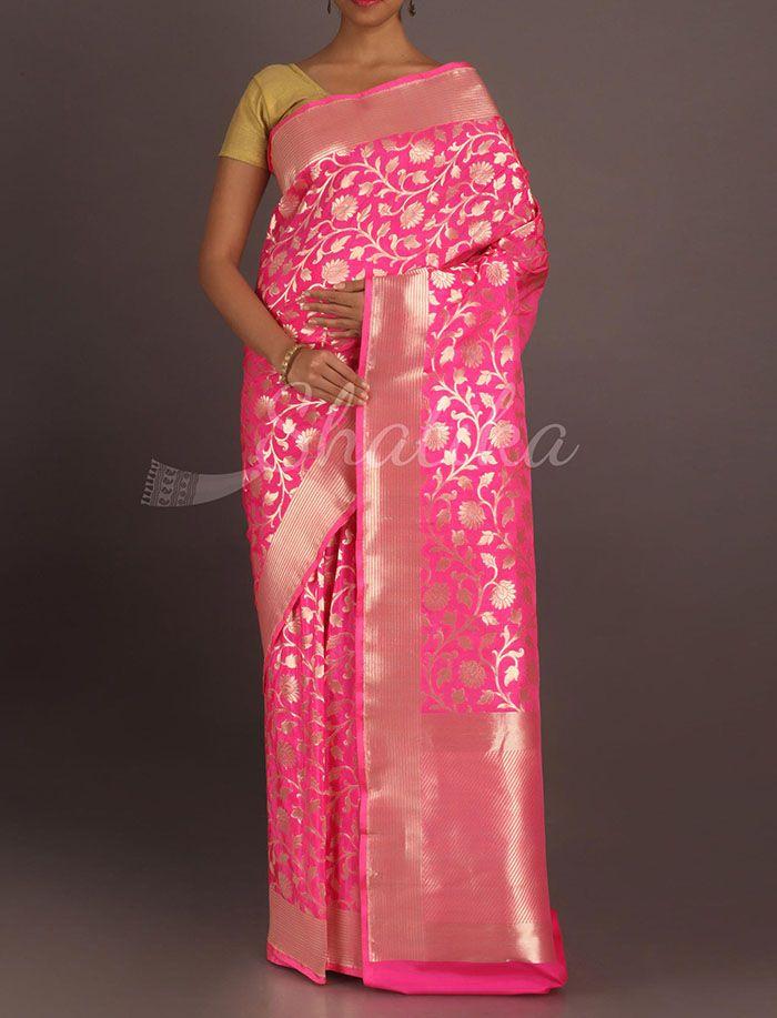 e68785f990 Aarushi Bloomingdale Silver Blossom Real Zari #Banarasi #BrocadeSilkSaree