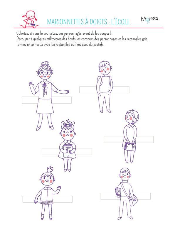 Marionnettes doigts imprimer coloriage coloring malvorlage pinterest - Marionnettes a doigts a imprimer ...