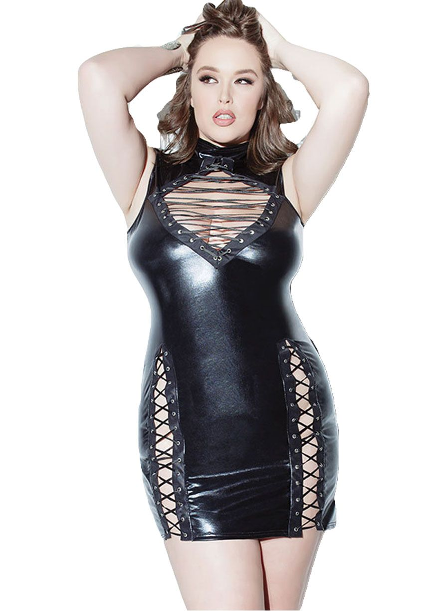 8cf53107293ad Black Lace-up Leather Bodycon Dress PVC   Leather Lingerie Lingerie Sexy  Lingeire