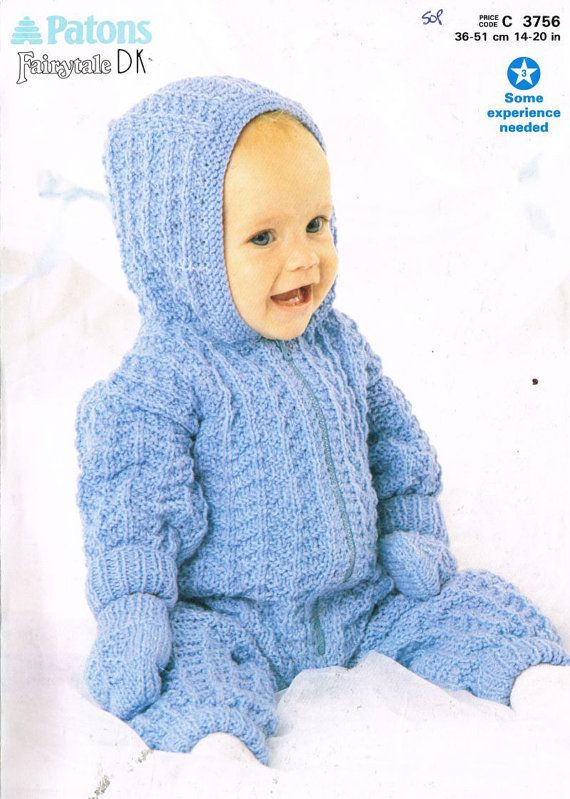 Patons 3756 baby pram suit vintage knitting pattern PDF ...