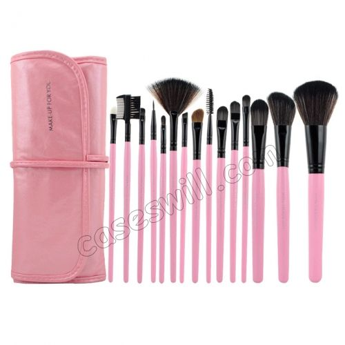 Professional Makeup Brush with Free Leather Pouch(15-Piece Pack) - Pink US$17.99