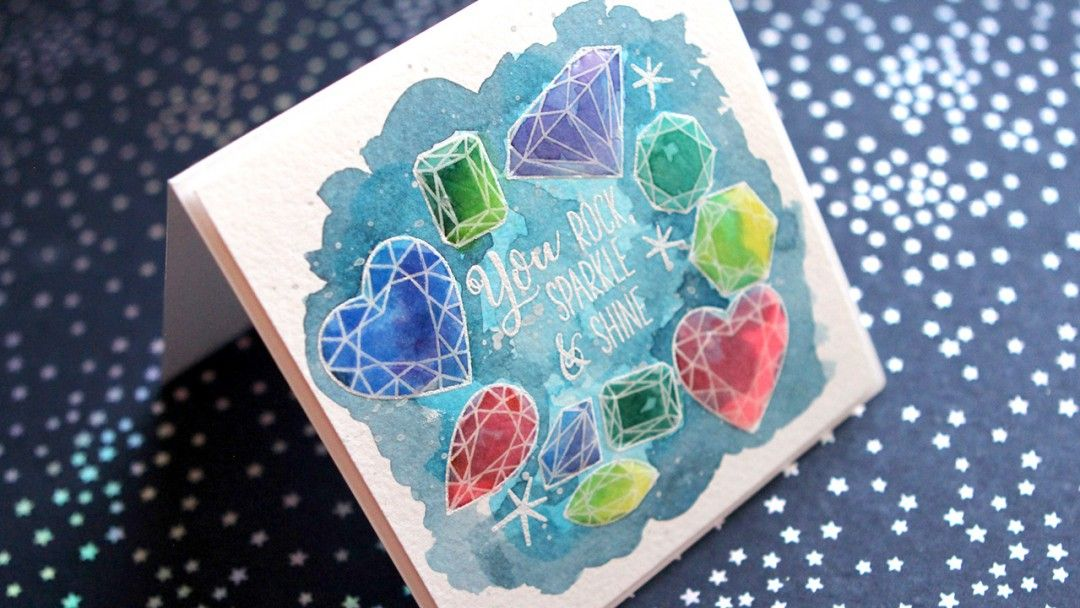 Watercolored Gems Card