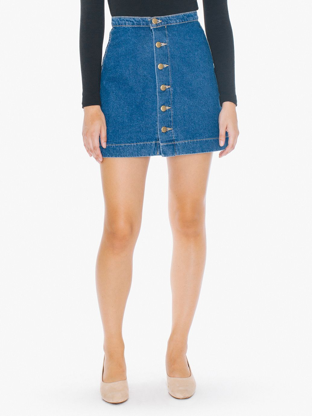 d6e9b04b3 The Denim Button Front A-Line Mini Skirt is a denim mini skirt featuring a  6-button front, high waist and A-line design. Both on-trend and classic, ...