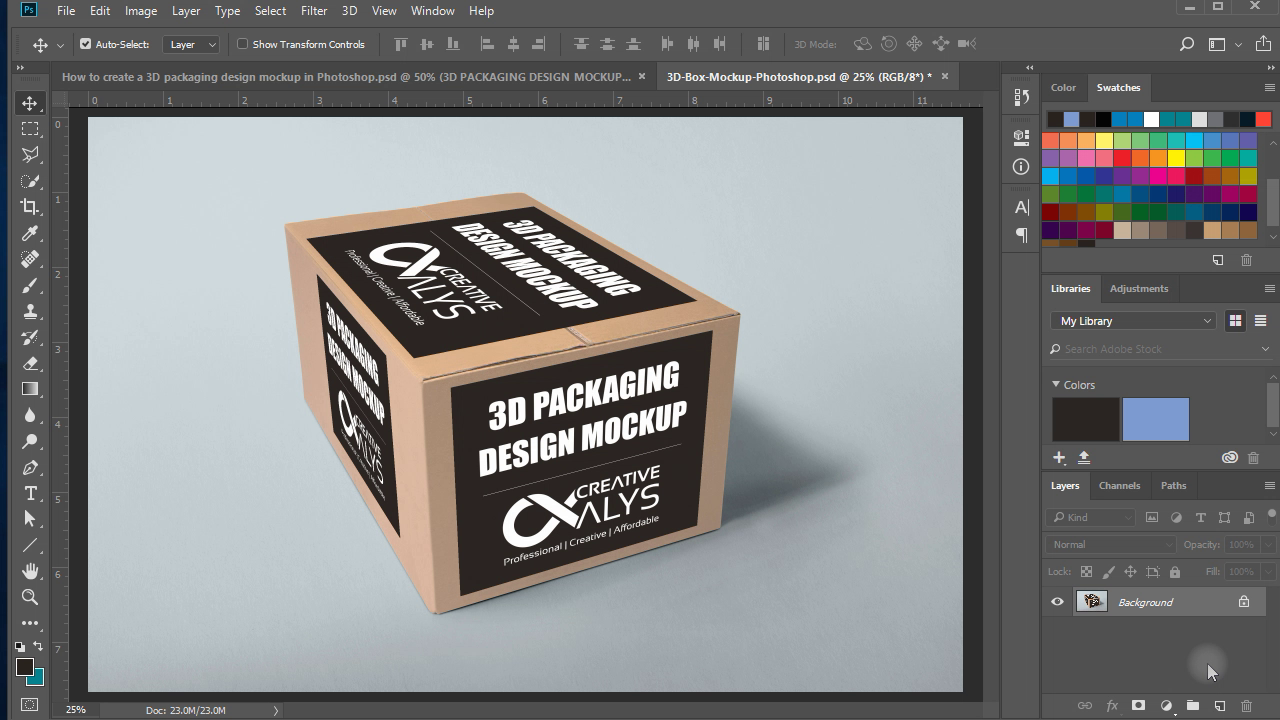 Learn How To Create A 3d Packaging Design Mockup In Adobe Photoshop Cc Using Vanishing Point Packaging Des Mockup Design Mockup Photoshop Photoshop Tutorial
