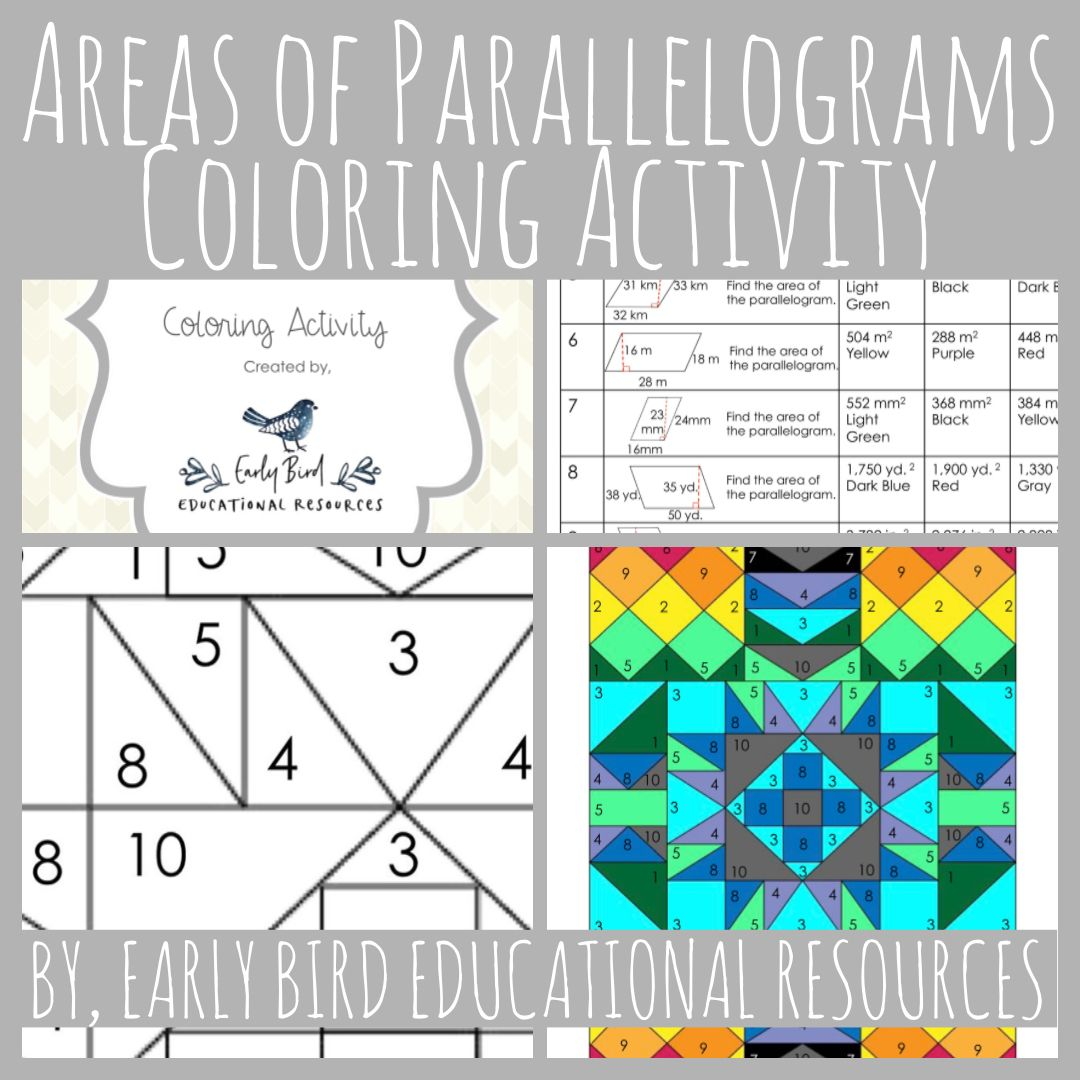 Areas Of Parallelograms Coloring Activity This Worksheet Is A Fun Way For Students To Practi Color Activities Fun Math Activities Teacher Created Resources