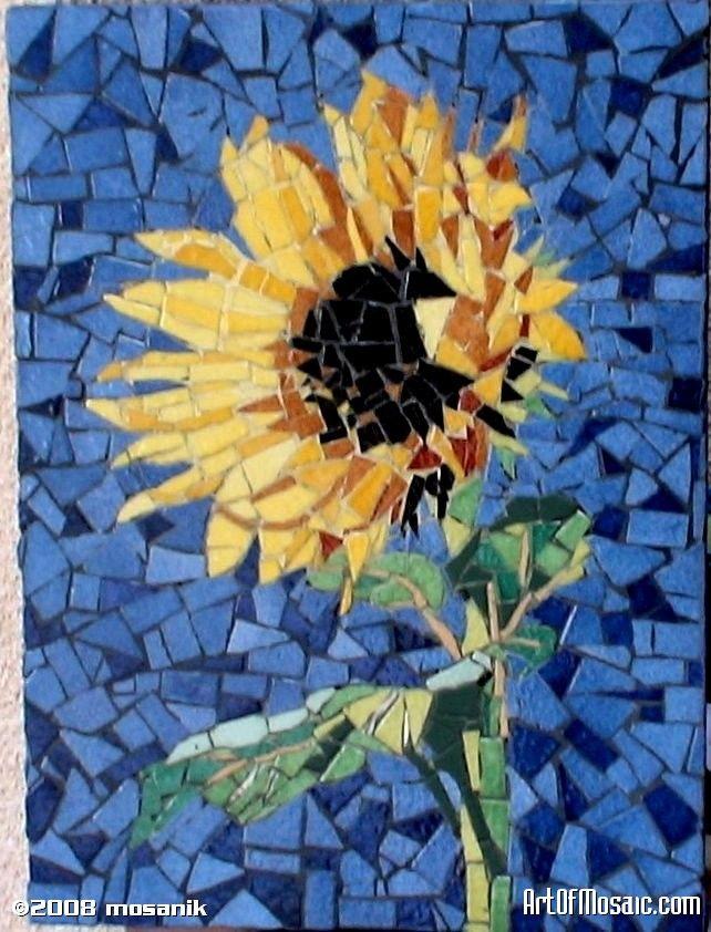 Sunflower Artofmosaic Com Mosaic Art Mosaic Tile Art Glass