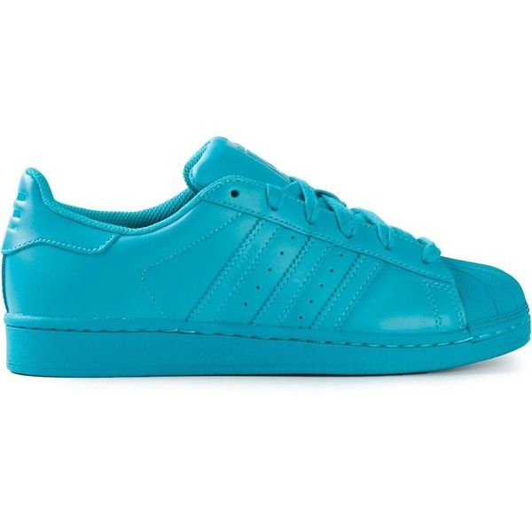 Adidas Originals X Pharrell Williams 'Superstar Supercolour' sneakers (2,225 MXN) ❤ liked on Polyvore featuring shoes, sneakers, adidas, обувь, blue, rubber sole shoes, flat sneakers, laced up shoes, perforated shoes and round toe flat shoes
