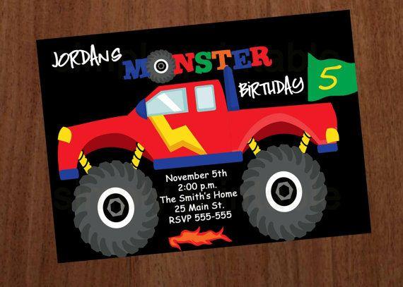 Monster Truck Boys Birthday Invitation Birthday Party Ideas