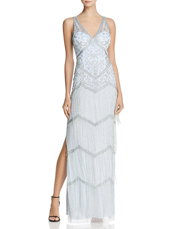 Aidan Mattox Embellished Fringe Gown 1920s great Gatsby wedding ...