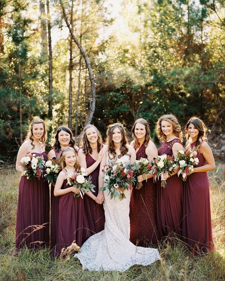 Burgundy bridesmaid dresses | bridesmaid dresses mix and match styles  #bridesmaid #neutraldress #bridesmaidsdresses #neutralbridesmaid #mixandmatchbridesmaiddresses
