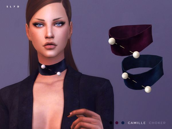 The Sims Resource: Velvet Choker - Camille by SLYD • Sims 4 Downloads