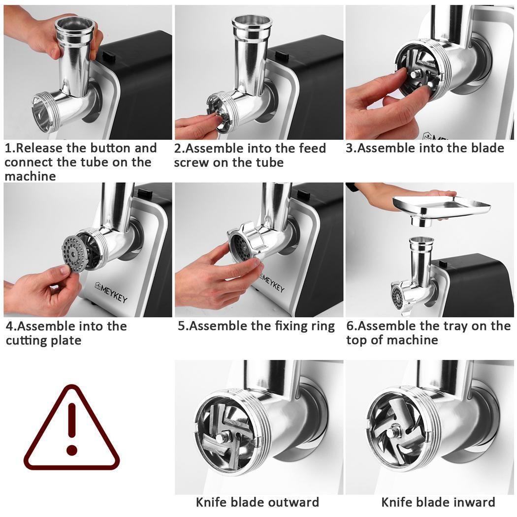 Electric meat grinder 2000w meat grinder with 3 grinders