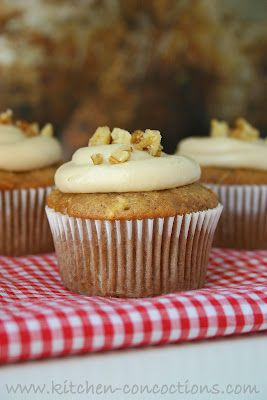Apple Spice Cupcakes w/ Brown Sugar Cream Cheese Frosting - Kitchen Concoctions