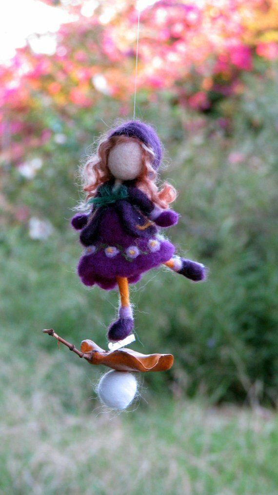 Needle felted ornament Christmas Waldorf inspired Winter Romantic gift Ice skating