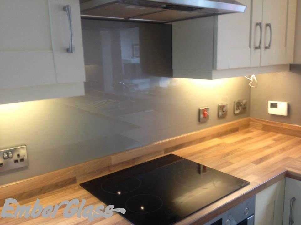 grey glass splashback in shaker kitchen. ember glass create