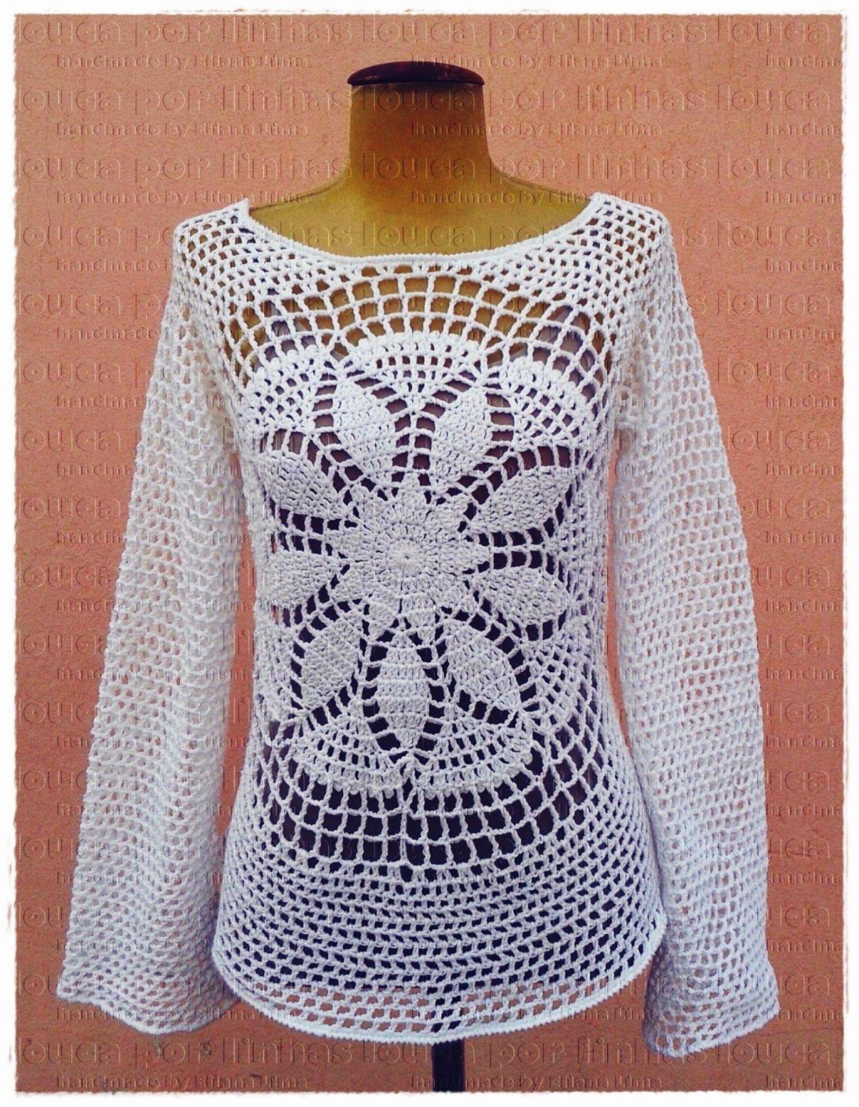 louca por linhas - crochet e patchwork: Blusa Lolita   Things to ...