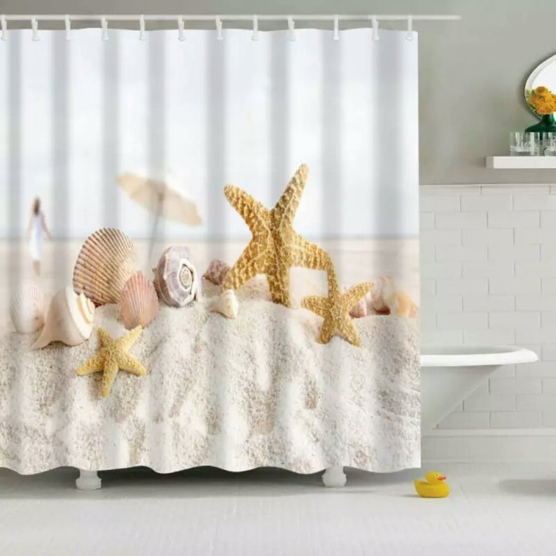 Summer Beach Ocean Surfing Bathroom Shower Curtain Set Waterproof Fabric w//Hooks
