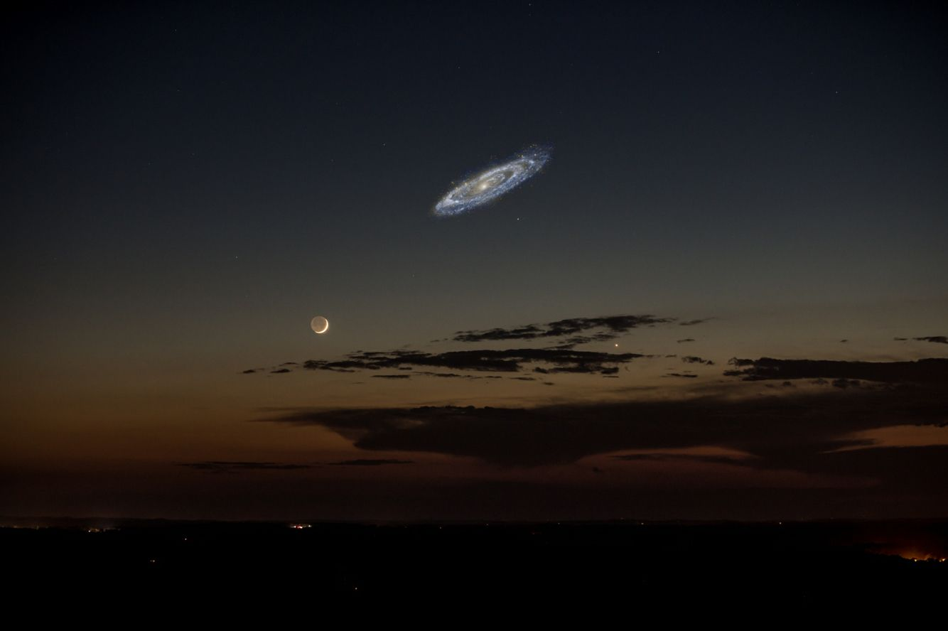What Andromeda would look like in our sky if it was brighter.