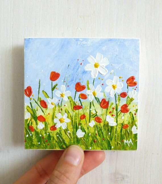 Original Acrylic Painting, Original Mini Art, Flowers Painting, Nature Painting