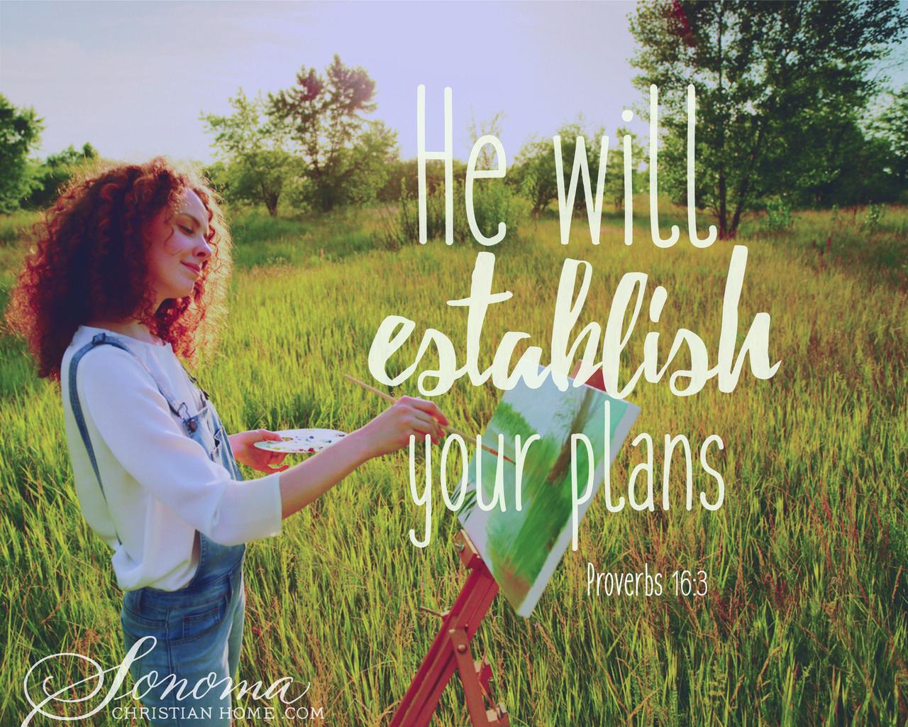 He will establish your plans - Proverbs 16:3 #Christian #Faith #TrustGod #Prayer #Salvation http://bit.ly/1r3nXZx
